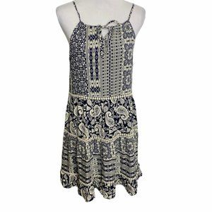 Alya Tiered Layered Boho Halter Casual Dress - M